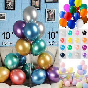 "10"" Inch Pearl Metallic chrome pastel Balloons Latex Quality Party Birthday UK"