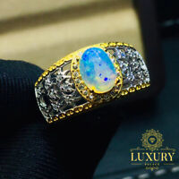 Natural Australia Opal 5x7mm Gemstone Solid 925 Sterling Silver Women Rings