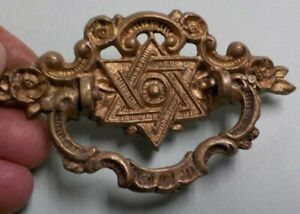 Victorian Brass Star of David Drawer Handles / Pulls Lot of 2 * Single Screw