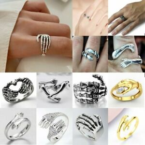 Fashion 925 Silver Punk Adjustable Opening Palm Ring Women Men Jewelry Gifts Hot