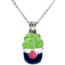 K992 Enamel Succulent Pot Culture Pearl Beads Cage Locket Pendant Necklace