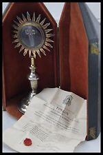 † c.1807 STERLING & GOLD MONSTRANCE D.N.J.C. RELIQUARY TRUE CROSS RELIC + COA †