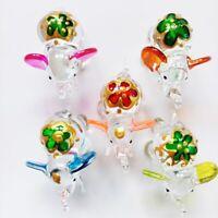 Glass Elephant Figurine Blown Trunk Art Handmade Miniature Crystal 5 Pc/5 Color