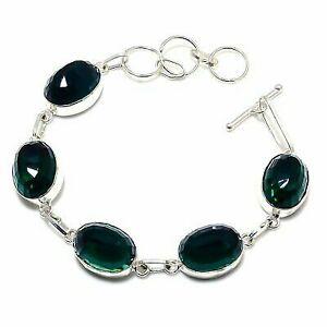 "Chrome Diopside Gemstone Handmade 925 Sterling Silver Bracelet 7-8"""