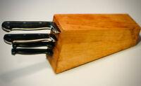4 Piece Kitchen Knife Set La Cuisine Wood Block Storage Stainless Steel NICE