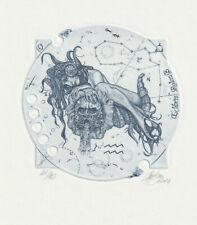 "Ex libris Erotic Exlibris ""zodiac sign ""Aquarius"" by HUJBER GUNTER / Czech"