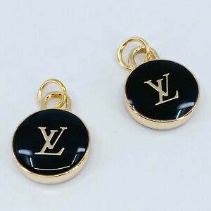 One Pair Authentic LV Round Charm, Gold Plated 15mm Louis Vuitton Designer Charm