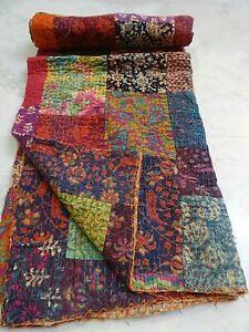 Kantha Cotton Patch Work Quilt Boho Blanket Light Weight Summer Hippie Throw