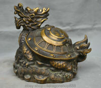"9.6 ""Vieux Chine Cuivre Folk Feng Shui Animal De Dragon Tortue Richesse Statue"