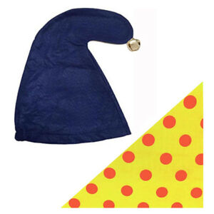 SMURF NODDY HAT  GNOME ELF HAT WITH BELL and SCARF FANCY DRESS PARTY one size