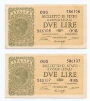 2 LIRE Lira Italy Italia - 2 BANKNOTES 1944 - LOOK AT SERIAL NUMBERS!!! - VF-XF
