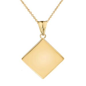 Solid 14k Yellow Gold Simple Diamond Shaped Pendant Necklace