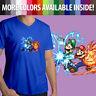 Super Mario Bros Luigi Power Up Fireball Nintendo Game Mens Tee V-Neck T-Shirt