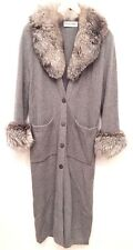 Small Buonuomo Gray Cashmere And Fur Collar Long Sweater