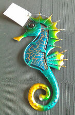 New SEAHORSE WALL PLAQUE METAL 17 cm Turquoise Green Gold  hang in bathroom etc.