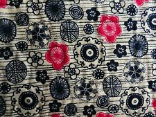 """Pre-Quilted Tan w/red & black floral Cotton on Black Felt 21"""" wide x 18"""" long"""