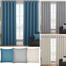 Bondi Ready Made Eyelet Blockout Curtains. Teal Grey or Natural. Choice of Sizes