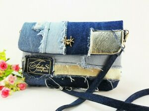 Recycled Denim crossbody Patchwork Vegan clutch Cosmetic bag Jeans large purse