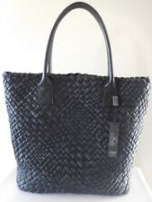 New FALOR Firenze Black Woven Leather Tote Bag Purse!