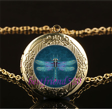 Steampunk dragonfly Cabochon Glass Gold Plating Locket Pendant Necklace