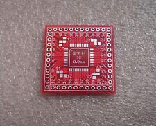3x Adapterplatine QFP44 0.8mm auf Raster 2,54mm (0.9) V1.0 FR4 HALbf Rot