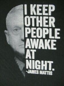 RANGER UP GENERAL MATTIS KEEP PEOPLE AWAKE AT NIGHT BLACK 2XL XXL T-SHIRT D1397