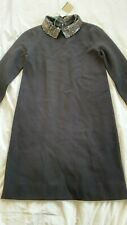 BNWT Hobbs Ladies Sequined Peter Pan Collar Black Dress UK 6