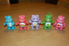 LOT OF 5 VINTAGE POSEABLE CARE BEARS WITH A TUFT OF HAIR - USED