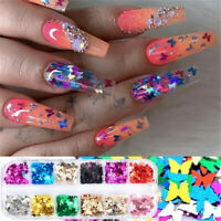 12 Grids Butterfly Shape Nail Flakes 3D Laser Glitter Sequin Nail Art Decors HOT