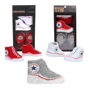 Converse All Star Crib Booties Socks Baby Infants 0-6 Months x2 Gift Box Set