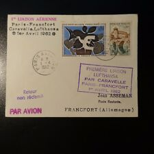 AVIACIÓN LETRA COVER PREMIER VUELO PARIS FRANCFORT 1962