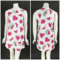 Womens Love Moschino Watermelon Print Mini Shift Dress White Cotton IT40 UK8