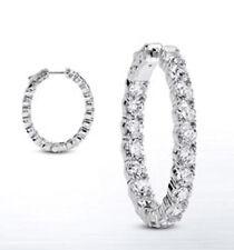 Hoop Oval shape Earring 36 x 0.20 ct 7.19 carat Round cut Diamond 14k White Gold