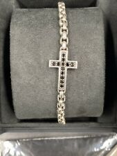 David Yurman Jewelry Sterling Silver Black Diamond Cross Box Chain Bracelet8.25""