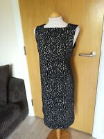 Ladies NEXT Dress Size 12 Tall Lace Black Cream Wiggle Party Evening Wedding