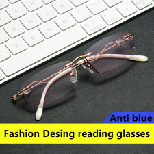 Fashion Women Rimless Cutting edge Reading glasses Anti blue light Purple/Pink