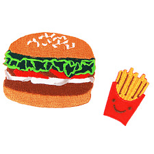 Burger and French Fries Fast Food Hamburger Iron on Patch Embroidered Patches