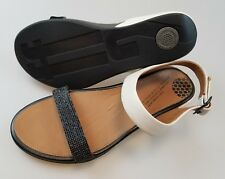 FITFLOP FF2 Black White Leather Ankle Buckle Sandals Shoes Women's EU 39 US