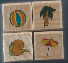 BEACH BALL Snail UMBRELLA Palm Tree NEW MINI mixed LOT wood mount RUBBER STAMPS