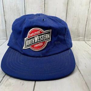 VTG North Western Railroad Cap Hat Trucker SnapBack Worn Blue Employee Owned
