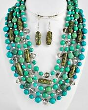 FIVE LAYERS TURQUOISE LUCITE & PATINA STYLE BEAD AND GLASS BEAD NECKLACE EARRING