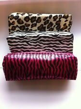 SATIN MAKEUP PURSE PENCIL CASE COSMETIC BAG ZIP POUCH LEOPARD PINK OR ZEBRA