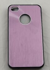 COVER IPHONE 4 4S PLASTICA NERA METALLO SATINATO ROSA PLASTIC METAL