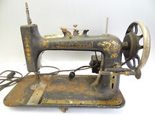 Vintage Used Old Metal Cast Iron Queens Special Ornate Painted Sewing Machine