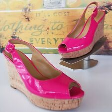 1284e7226471 NINE WEST Women s Pink Patent Leather Cork Wedges Shoe Size 7.5