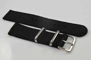 2-teiliges Uhrarmband Textil NATO Retro Nylon Uhrenband NEU Schwarz in 24mm