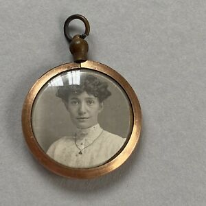 ANTIQUE ROLLED GOLD PHOTO LOCKET PENDANT DOUBLE SIDED