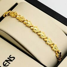 """Women's flower Bracelet Link 7.3"""" Chain 18K Yellow Gold Filled Charms Jewelry"""