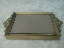 Vintage Picture frame, vanity jewelry tray collectible Gold-Tone Footed