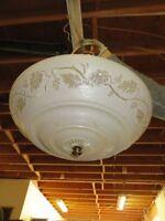 Antique Ceiling Light Fixture Cream Glass Art Deco Round Hanging Pendant